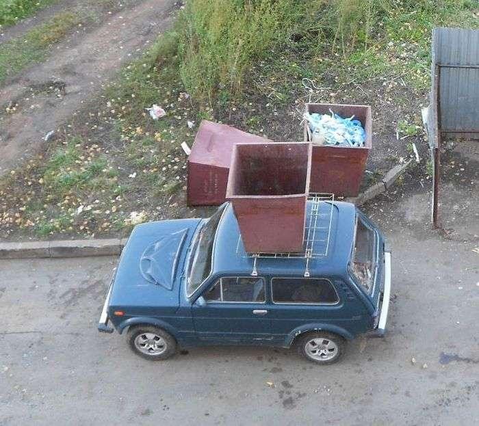 Ніколи не паркуйтесь біля сміттєвих баків (3 фото)